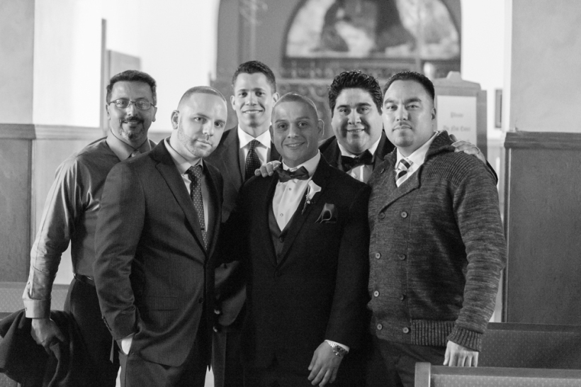 Groom and Groomsmen on Catholic Wedding Ceremony in St. Cecilia Church in San Francisco, CA