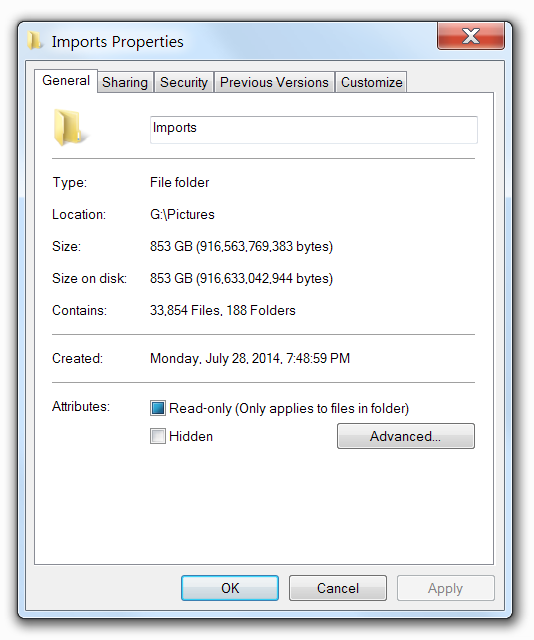Check  used disk space by photos