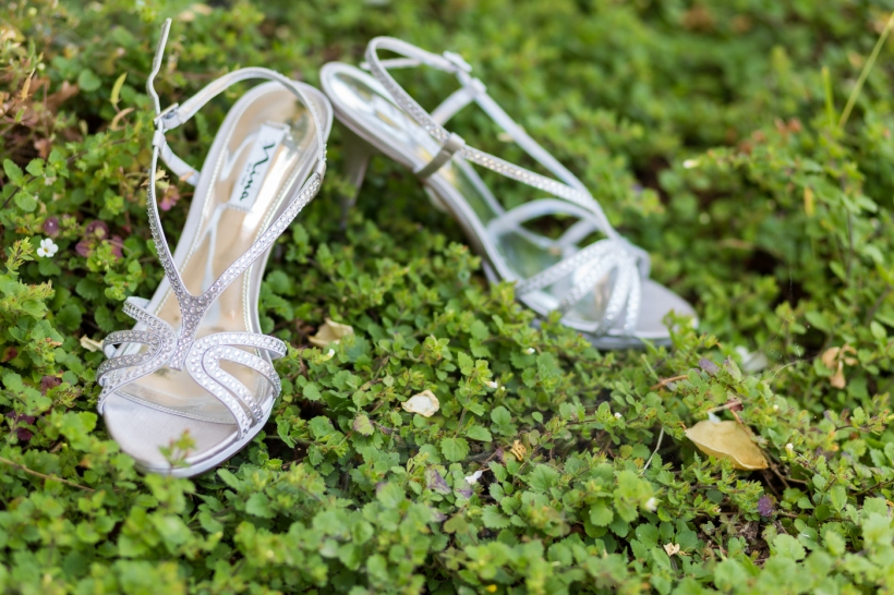 Bridal shoes at intimate DIY wedding in Benicia, CA