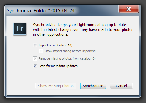 Confirm the catalog  sync in Adobe Lightroom