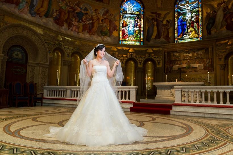 Romantic Bridal Portrait from Memorial Church Wedding in Stanford, CA