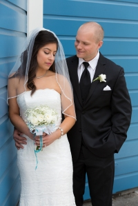 Bride and Groom Portrait as Fisherman's Wharf in San Francisco, CA